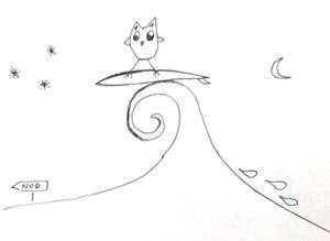 surfing owl